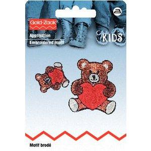 Billigtpyssel.se | Tygmärke Nallebjörn med hjärta liten och stor 2 st