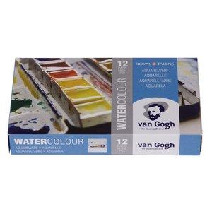 Billigtpyssel.se | Van Gogh akvarellset i metallbox ½ Kopp (12 färger & pensel)