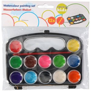 Billigtpyssel.se | Vattenfärgslåda - 12färger + pensel