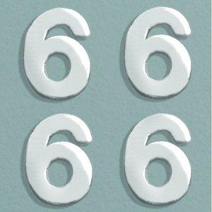 Billigtpyssel.se   Vaxdekoration nummer 8 mm - silver briljant 4 st. 6
