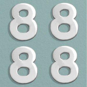 Billigtpyssel.se   Vaxdekoration nummer 8 mm - silver briljant 4 st. 8