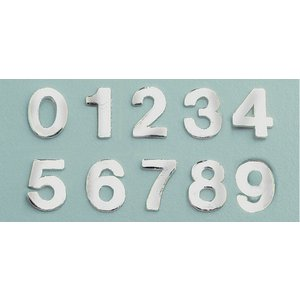 Billigtpyssel.se | Vaxdekoration nummer blandning 8 mm - silver briljant 0-9