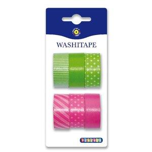 Billigtpyssel.se   Washitape 6-pack grön rosa