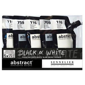 Akrylfärgset Sennelier Abstract - Black&White set 5 x 120ml