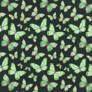 Mönstrad Trikå 150 cm - Vattenfärg Fjäril Grön
