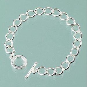 Armband l 18 cm - försilvrad oval