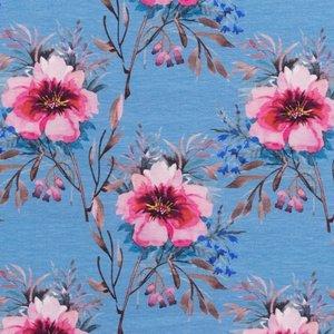Mönstrad Trikå 160 cm - Akvarell Blommor Jeans