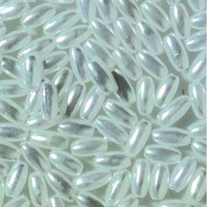 Vaxpärlor olivform 3 x 6 mm - vit 125-pack