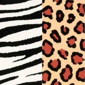 Color-Dekor färgfolie 180 °C 100 x 200 mm - 2 blandade färger 2 st zebra / leopar