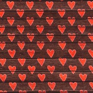 Mönstrad Trikå 150 cm - Trä Hjärta