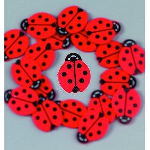 Dekor trä 25 mm - röd / svart 24 st. Nyckelpigor