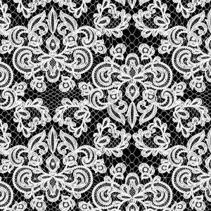 Mönstrad Trikå 160 cm - Lace Svart Vit