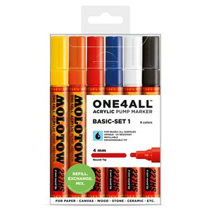 Akrylmarker One4All 4mm 6 Pennor - Basic I