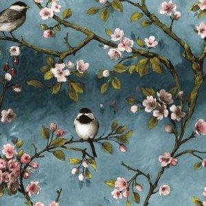 Vaxduk Blommor & Fågel