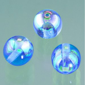 Glaspärla rund 6 mm - blå AB 50 st.