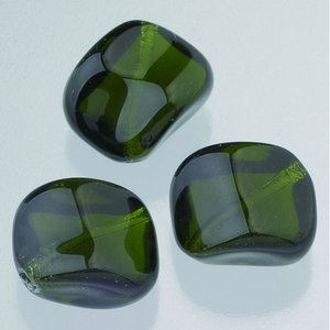 Glaspärlor 16 x 16 mm - olivgrön 5 st. nr 3