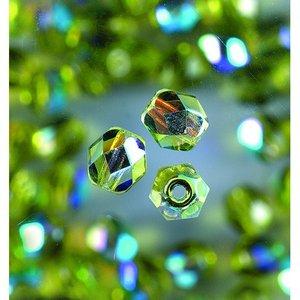 Glaspärlor facetterade - oliv - runda