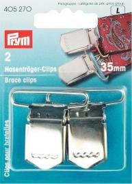 Hängselclips 35 mm härdat stål silverfärg. 2 st