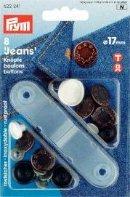 Jeansknappar open stars 17mm ant.brons 6 st