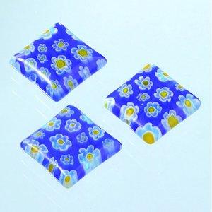 Millefioripärlor 14x14xT4mm - blå 3 st. kvadratiska platt