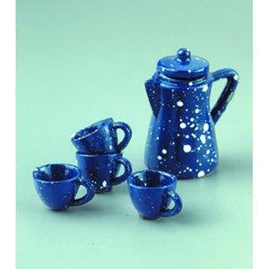 Miniatyr 1-2 cm + 5 cm - blå 5 delar Te service