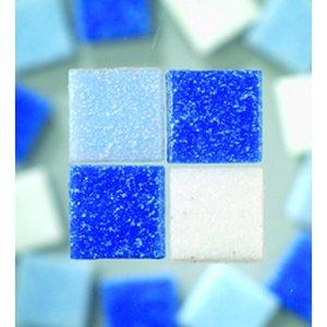 MosaixPro - glasmosaik 10 x 10 mm - blå mix 1.000 g ~ 1