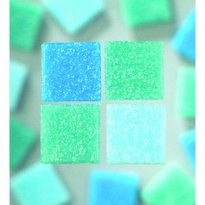 MosaixPro - glasmosaik 10 x 10 mm - turkos mix 1.000 g ~ 1
