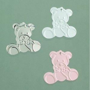 Paljetter 20 mm - rosa silver vit blandade 20 g Baby / teddy