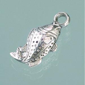 Plastamulett 11 x 23 mm - åldrat silver 4 st. fisk
