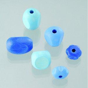 Träpärlor - blåmix 30 st. färg-form mix