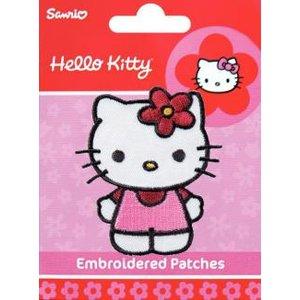 Tygmärke Hello Kitty lila blommor