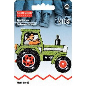 Tygmärke Traktor grön