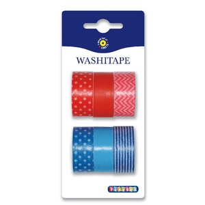 Washitape 6-pack röd & blå