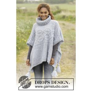 Alanna by DROPS Design - Poncho Stick-mönster strl. S/M - XXXL