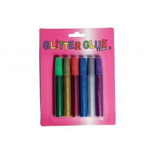 Glitterlim/Glitter Glue 6 ass. färger 10ml - 6 st