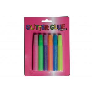 Glitterlim/Glitter Glue 6 ass. neon färger 10ml - 6 st