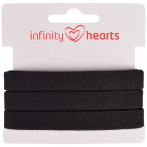 Infinity Hearts Bomullsband Fiskbensvävt 10mm 09 Svart - 5m