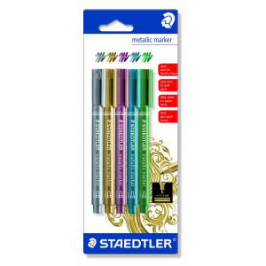Staedtler Marker Tuschpennor Ass. Metallic färger - 5 st.