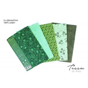 Tissu de Marie Fat Quarter Emerald 50x57cm - 5 st.