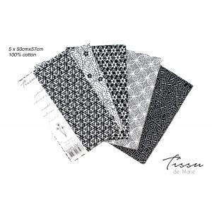 Tissu de Marie Fat Quarter Neutral Pärlor 50x57cm - 5 st.