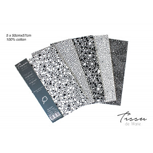 Tissu de Marie Fat Quarter Onyx 50x57cm - 5 st.