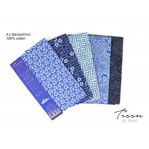Tissu de Marie Fat Quarter Sapphire 50x57cm - 5 st.